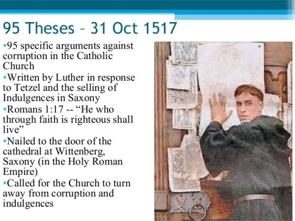 martin luther's 95 theses essay Please go online to find a copy and read martin luther's 95 theses which arguments do you think would be most offensive/upsetting to the pope pick 5 of the arguments and explain what luther was arguing against/about, and why the argument would have troubled the catholic church/pope of the 16th century looking for the best [.